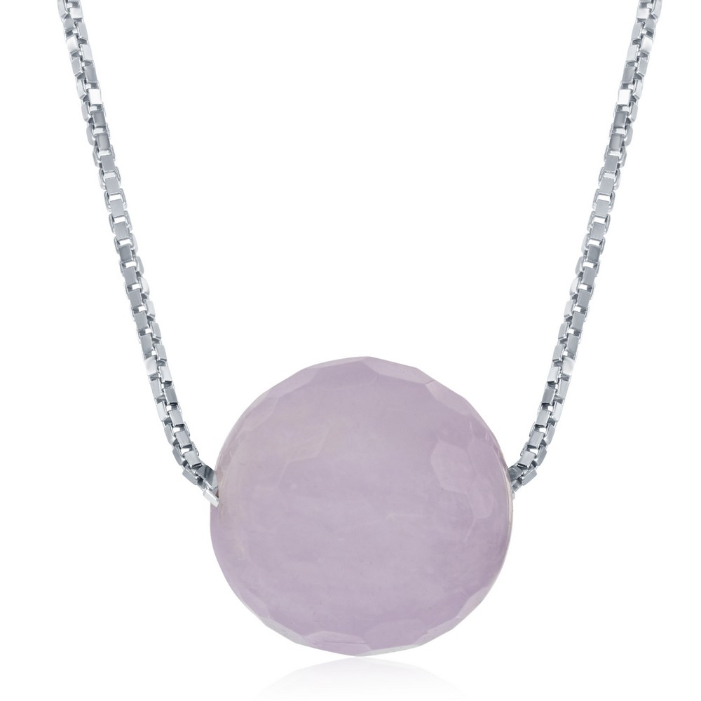 Sterling Siver Amethyst 8MM Faceted Bead Necklace