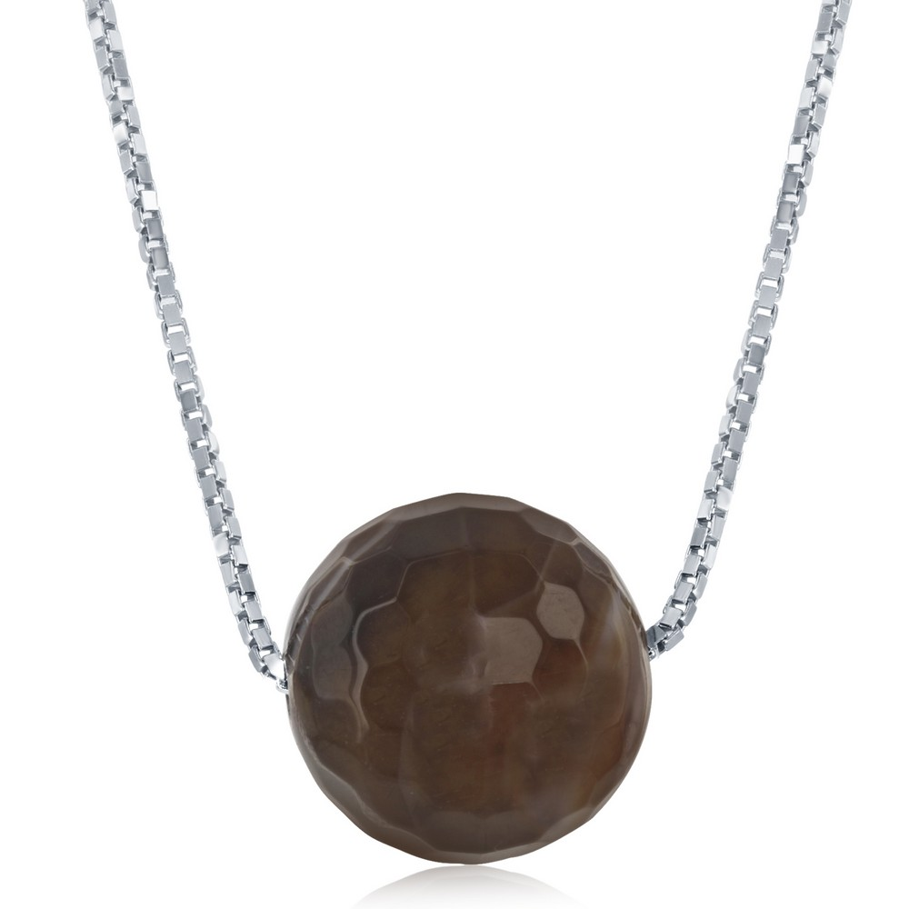 Sterling Siver Brown Persian Agate 8MM Faceted Bead Necklace