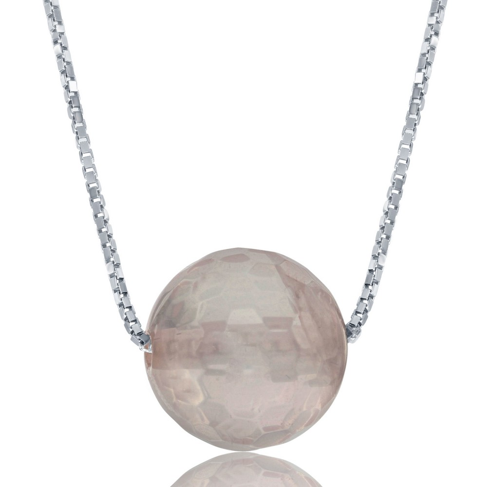 Sterling Silver  Rose Quartz 8MM Faceted Bead Necklace
