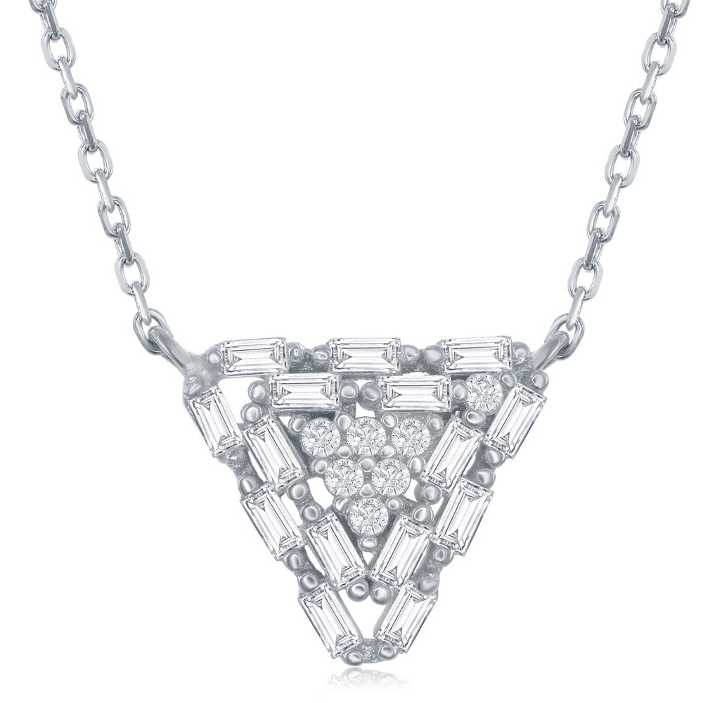 Sterling Silver Baguette Triangle Necklace
