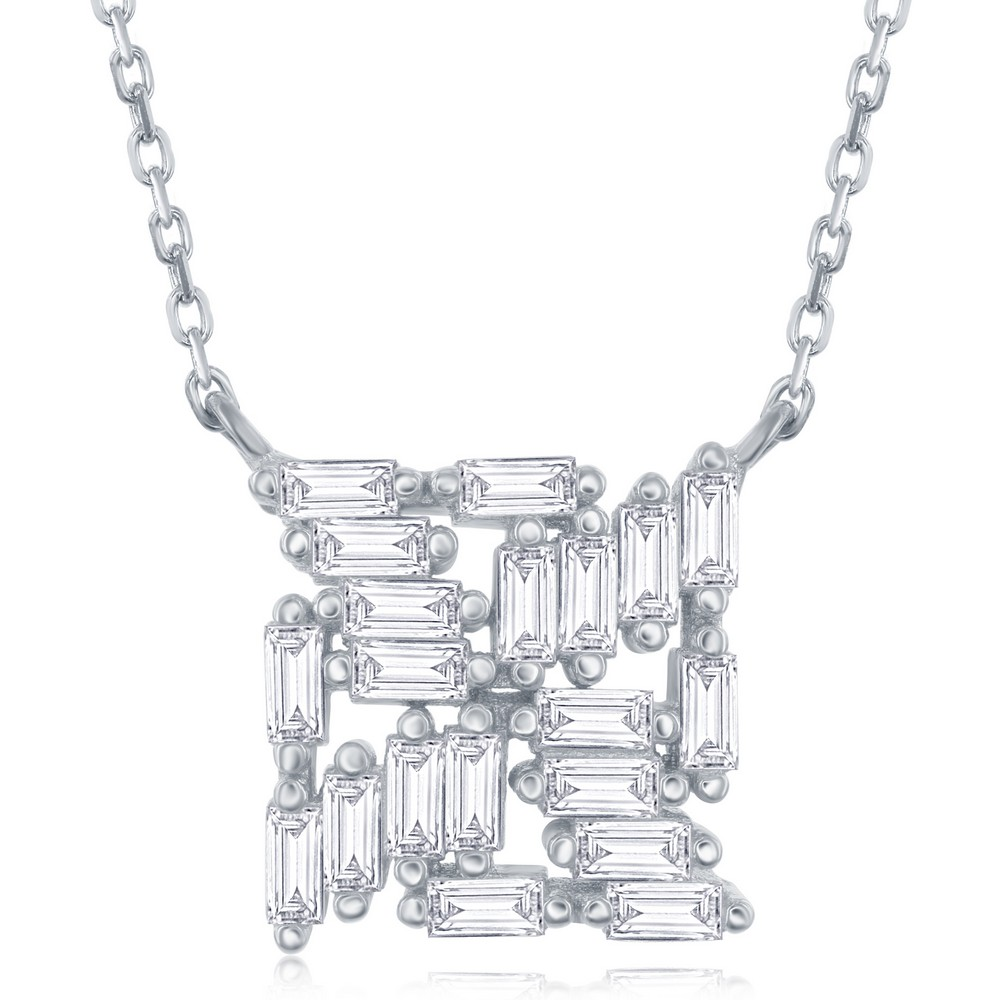 Sterling Silver Baguette Square Necklace