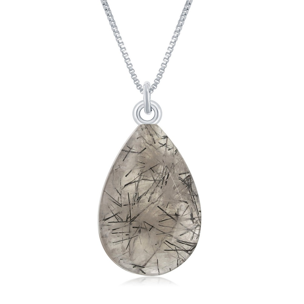 Sterling Silver Faceted Pear Shape Black Rutilated Necklace