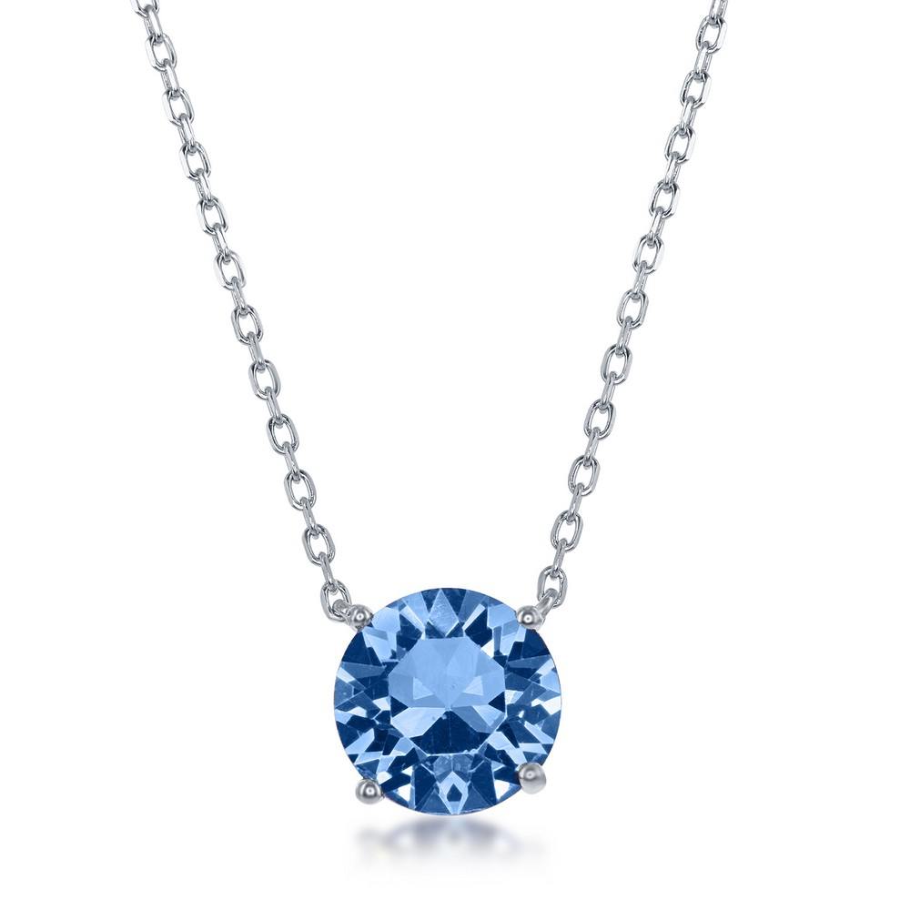 Sterling Silver 8MM Light Sapphire December Swarovski Element Necklace