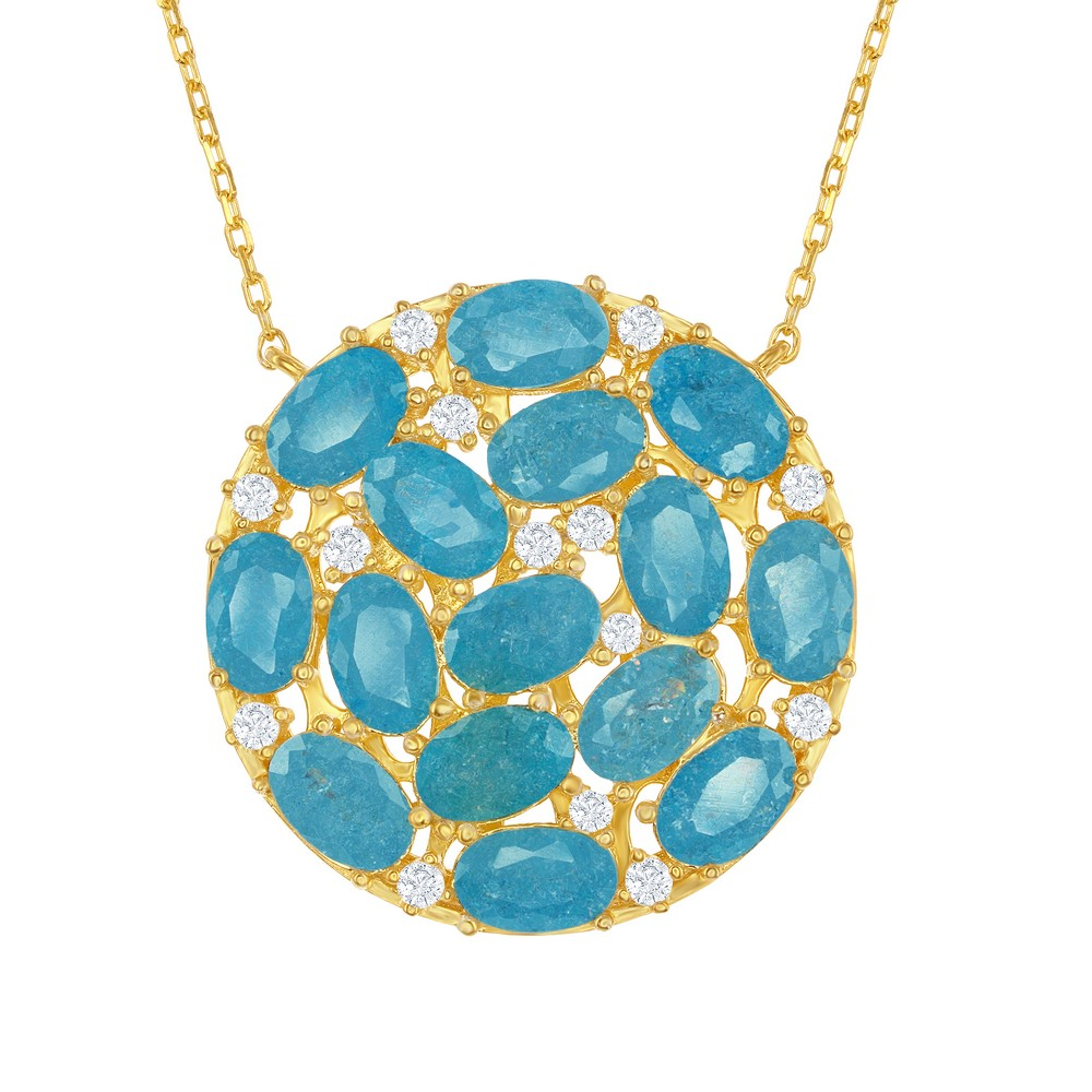 Sterling Silver Gold Plated Round with Center Blue Ice Stones & CZ's Necklace