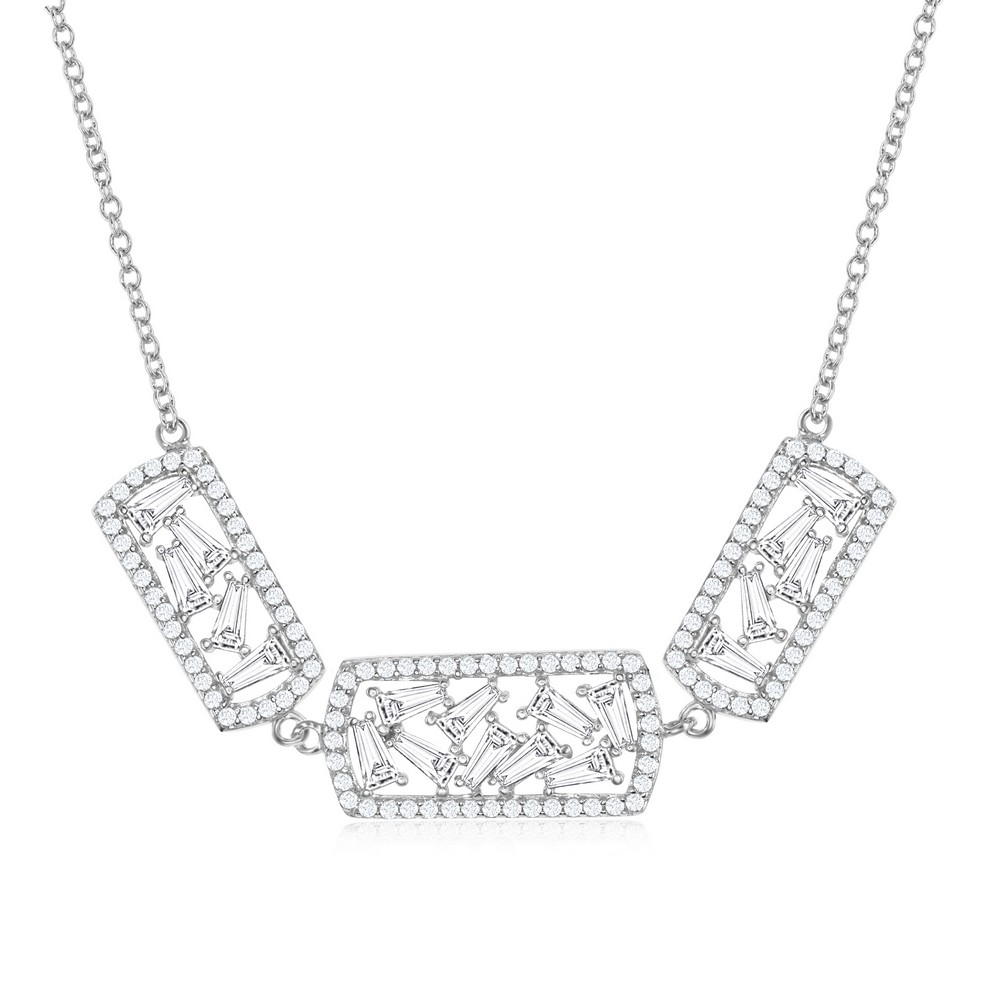 Sterling Silver Triple Rectangle with Center Baguettes & CZ Border Necklace