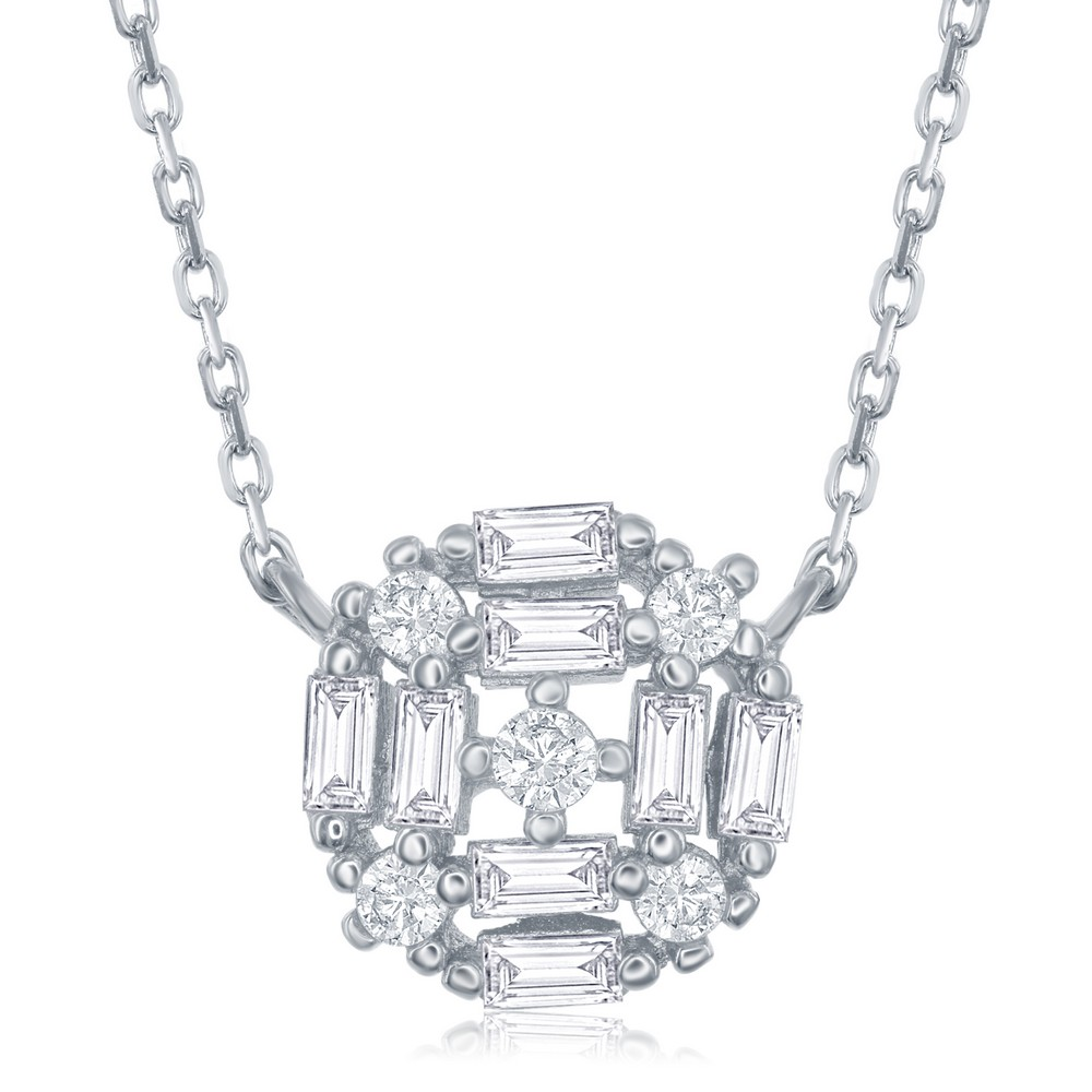 Sterling Silver Center Baguette Circle with CZ's Necklace