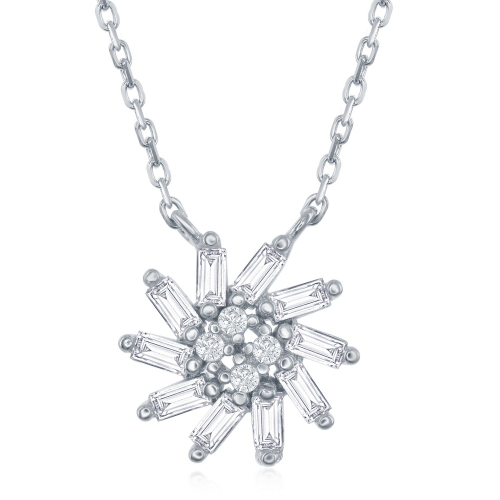 Sterling Silver Baguette Sun with Center CZ's Necklace