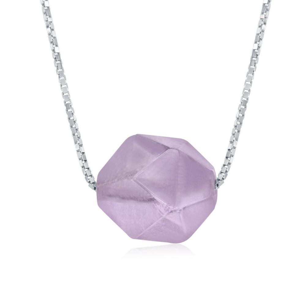 Sterling Silver Amethyst 10MM Rock Necklace