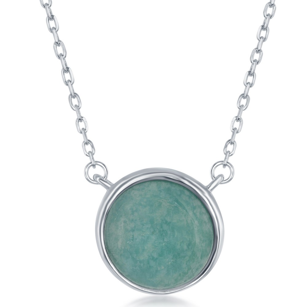 Sterling Silver  Round African Amazonite Bezel Set Necklace