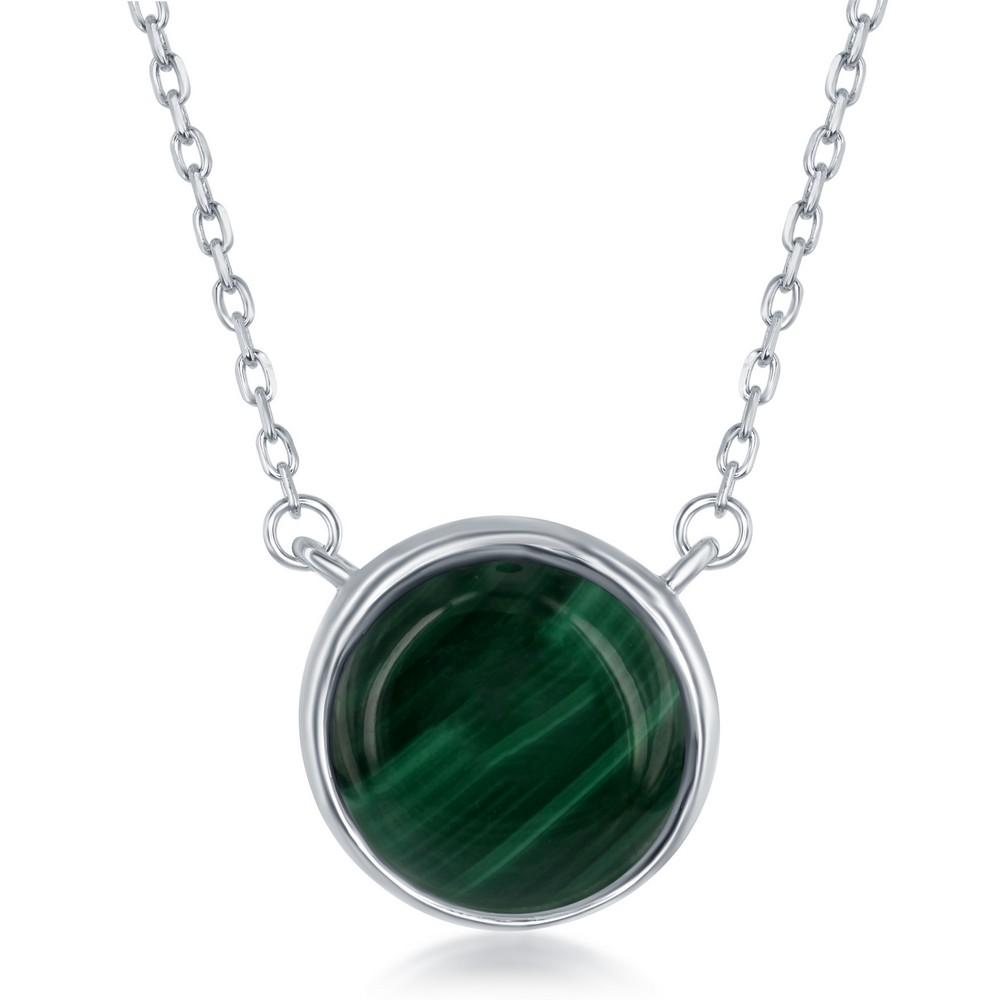 Sterling Silver Round Malachite Bezel Set Necklace