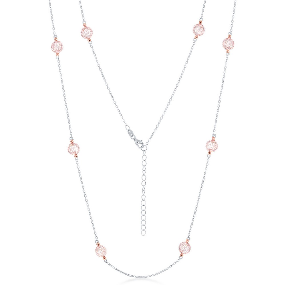 Sterling Silver CZ By The Yard Necklace - Rose Gold Plated