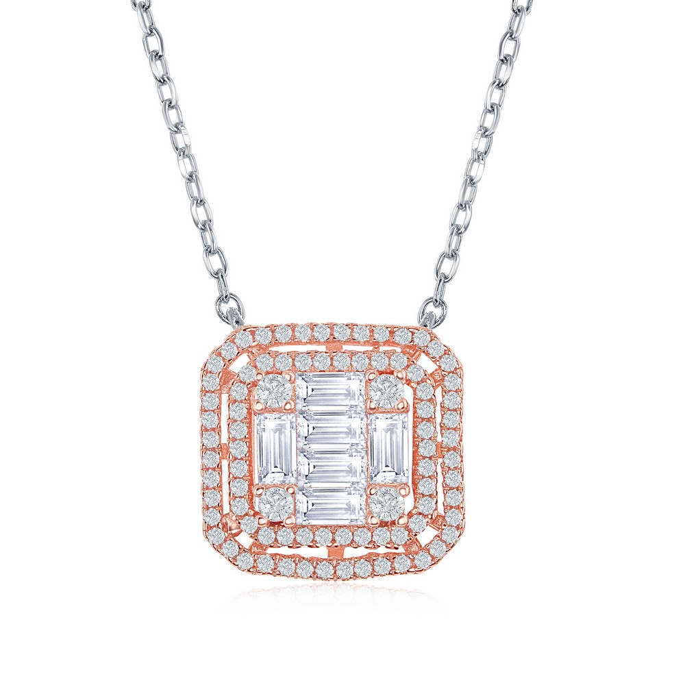 Sterling Silver Two-Tone Double Square Bagette CZ Necklace