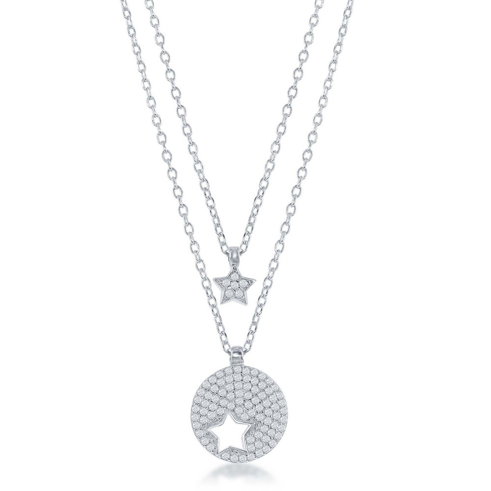 Sterling Silver Micro Pave Round Star Cut-out & Star Double Strand Necklace