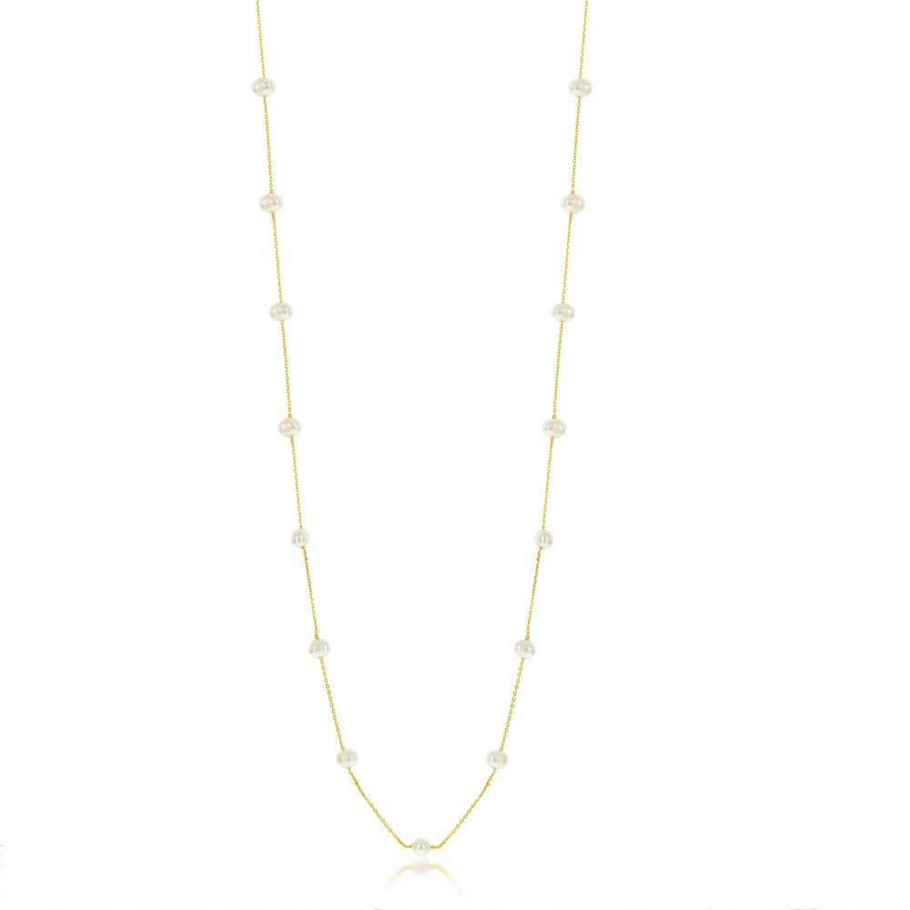 Sterling Silver Freshwater Pearls by the Yard Necklace - Gold Plated