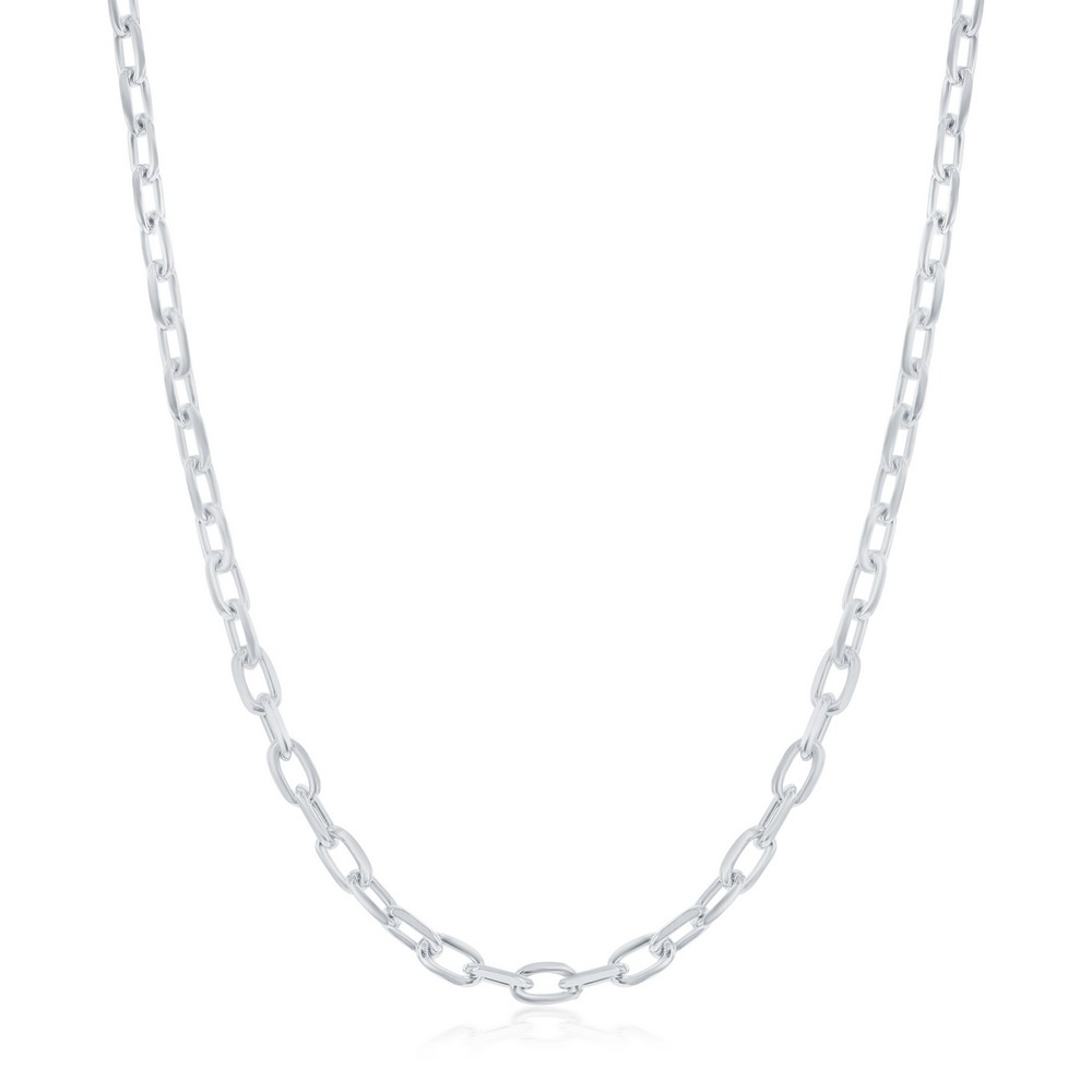 Sterling Silver 3.5mm Anchor Chain - Rhodium Plated