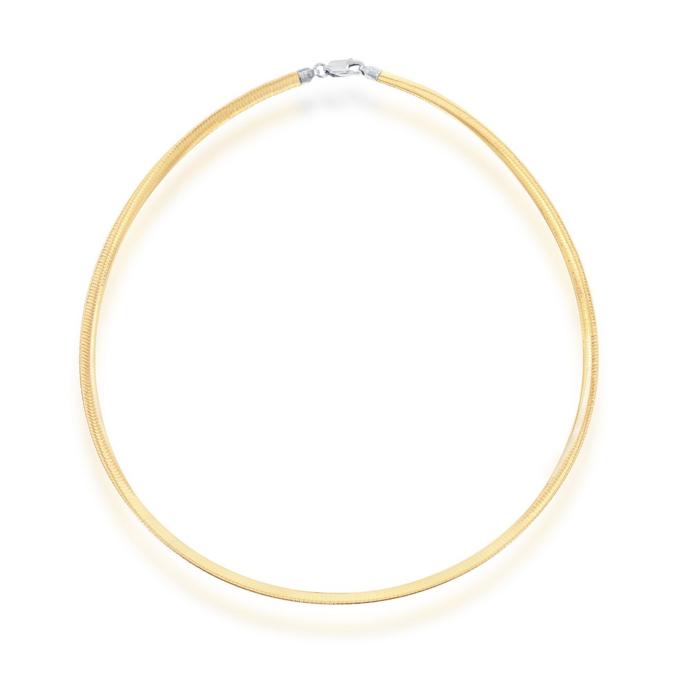 Sterling Silver 4mm Two-Tone Reversible Omega Chain