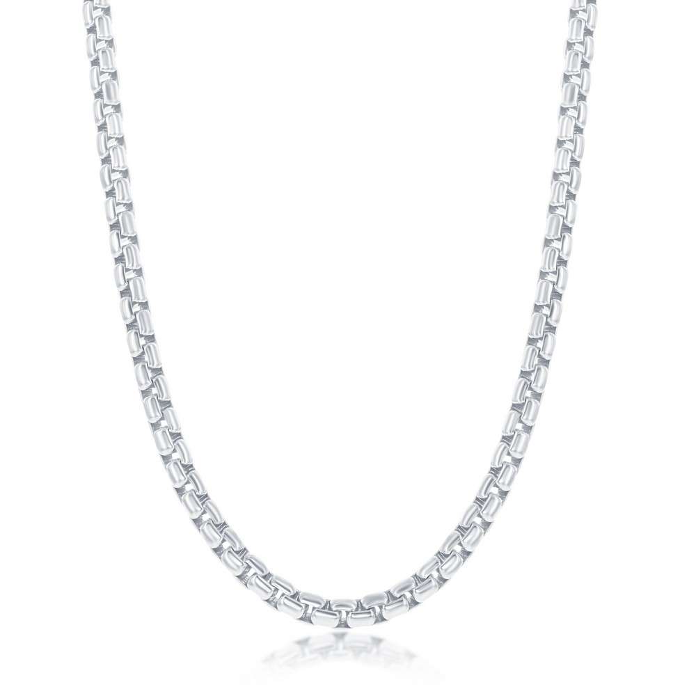 Sterling Silver 3.5mm Round Box Chain - Rhodium Plated