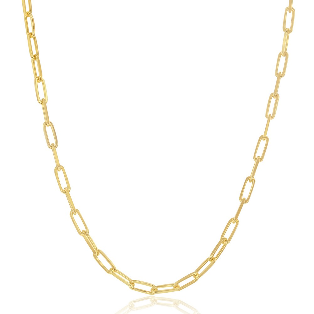 Sterling Silver 2.8mm Paper Clip Anklet - Gold Plated