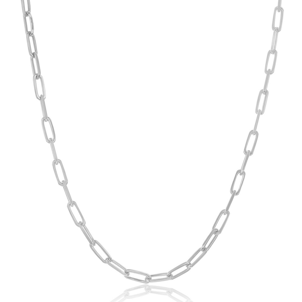 Sterling Silver 2.8mm Paper Clip Anklet - Rhodium Plated