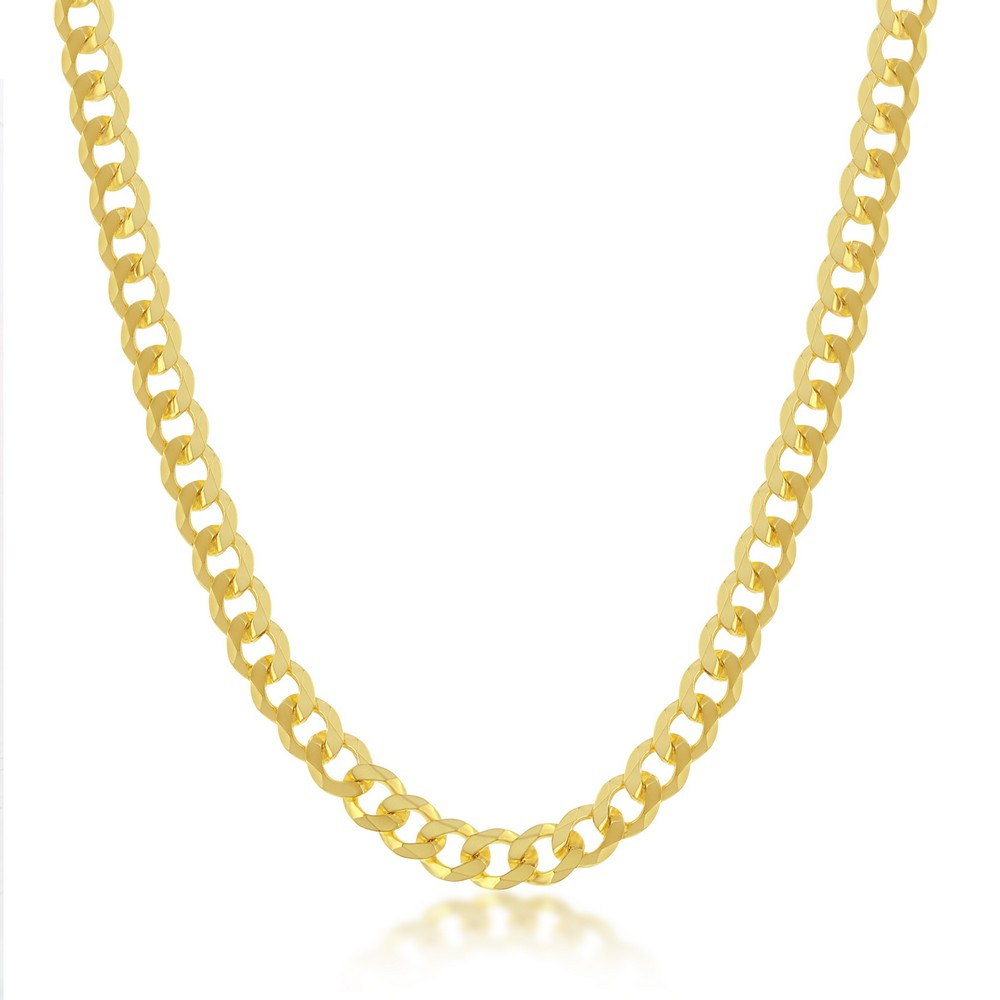 Sterling Silver 4.5mm Cuban Chain - Gold Plated