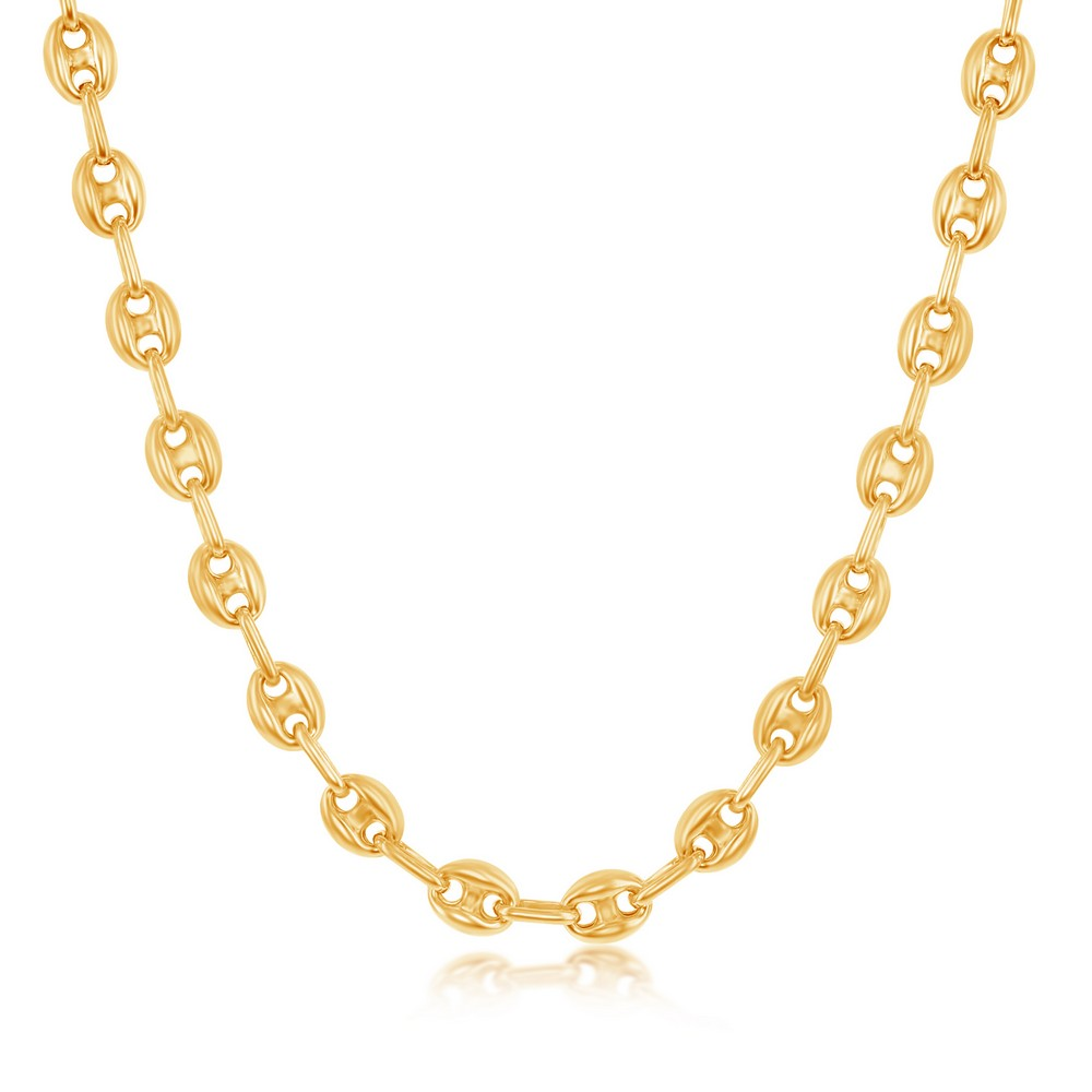 Sterling Silver 6mm Puffed Marina Chain - Gold Plated