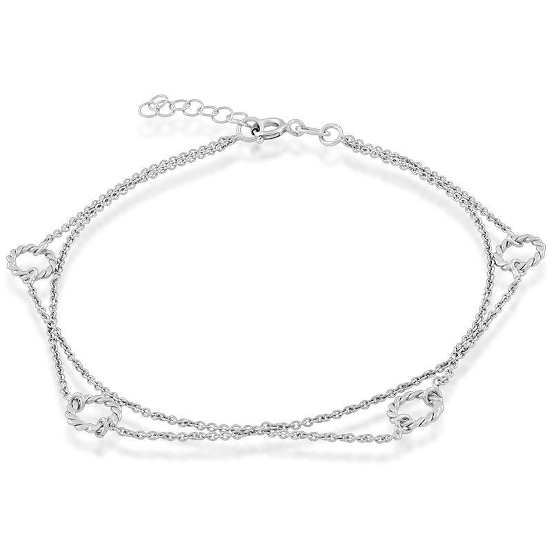 Sterling Silver Double Strand Open Rings Anklet