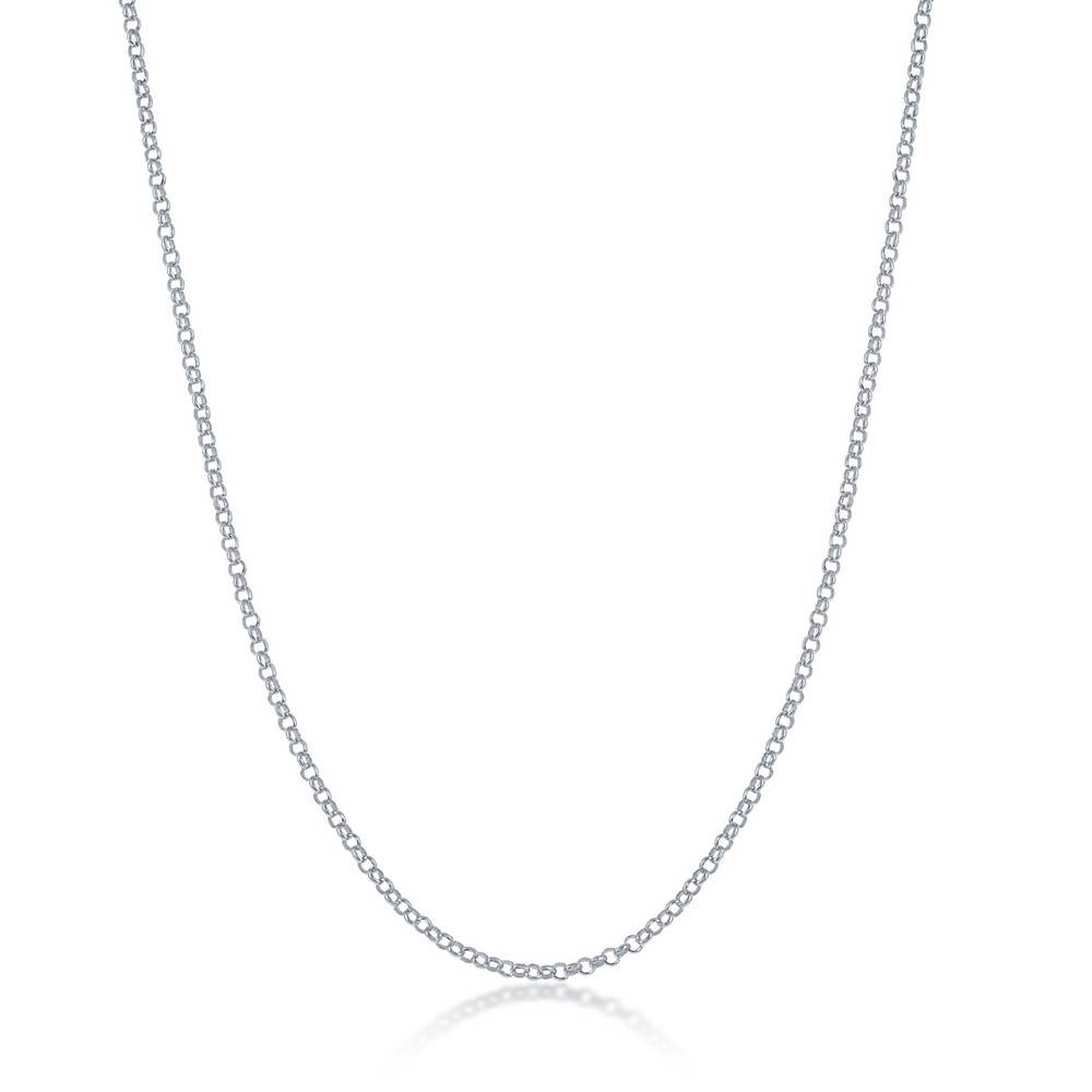 Sterling Silver 1.5mm Rolo Chain - Rhodium Plated