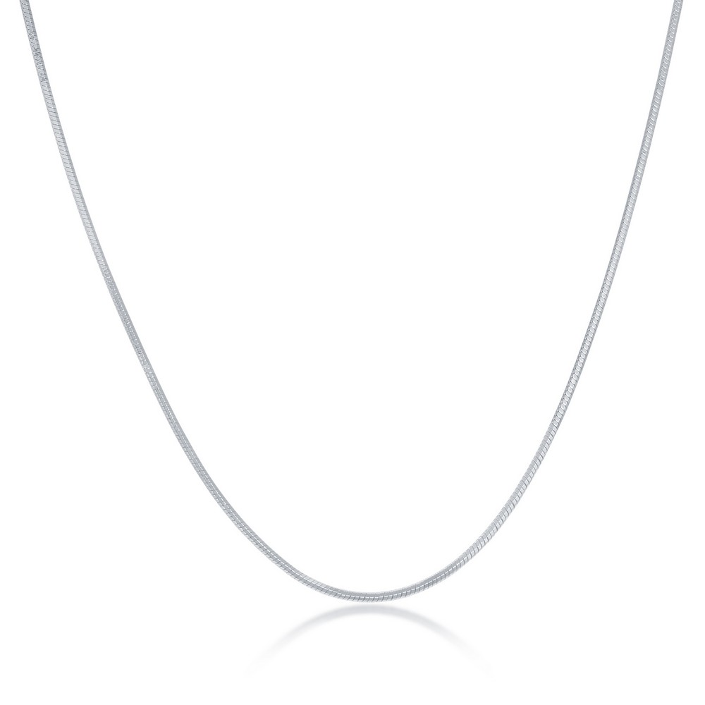 Sterling Silver 1.0mm Square Snake Chain - Rhodium Plated