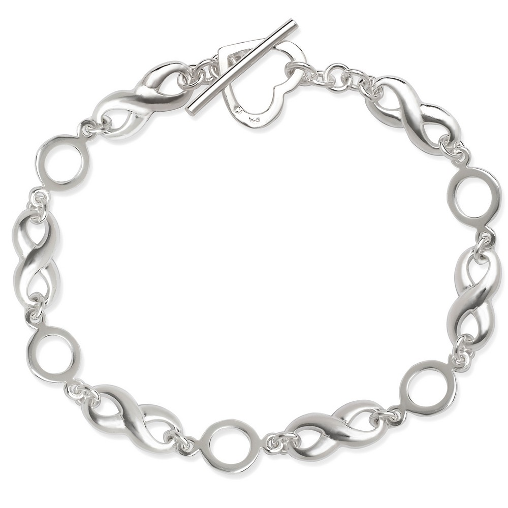 Sterling Silver  Infinity with Heart Toggle Bracelet