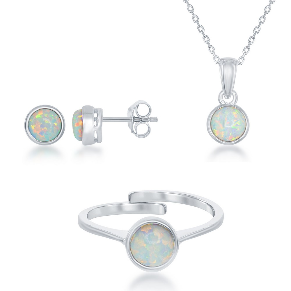 October Birthstone Sterling Silver Created White Inlay Opal Set