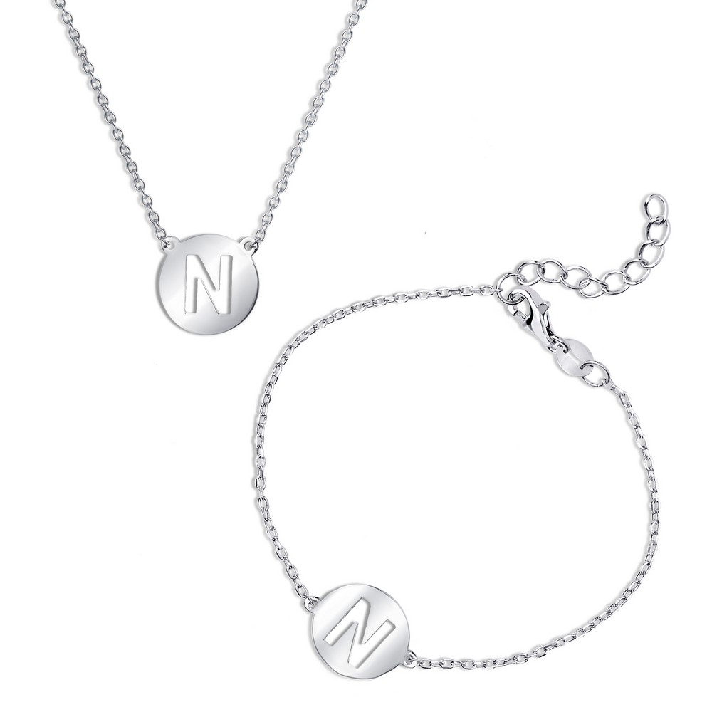 Sterling Silver Cut-Out Shiny 'N' Disc Initial Bracelet & Necklace Set