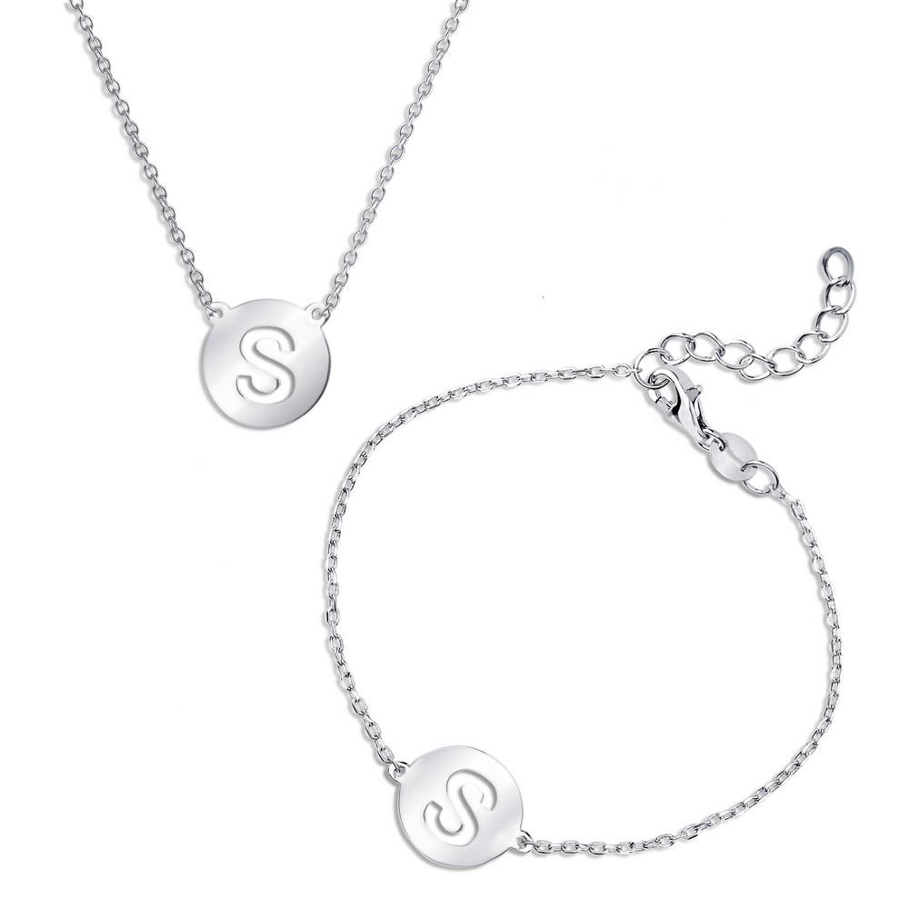 Sterling Silver Cut-Out Shiny 'S' Disc Initial Bracelet & Necklace Set