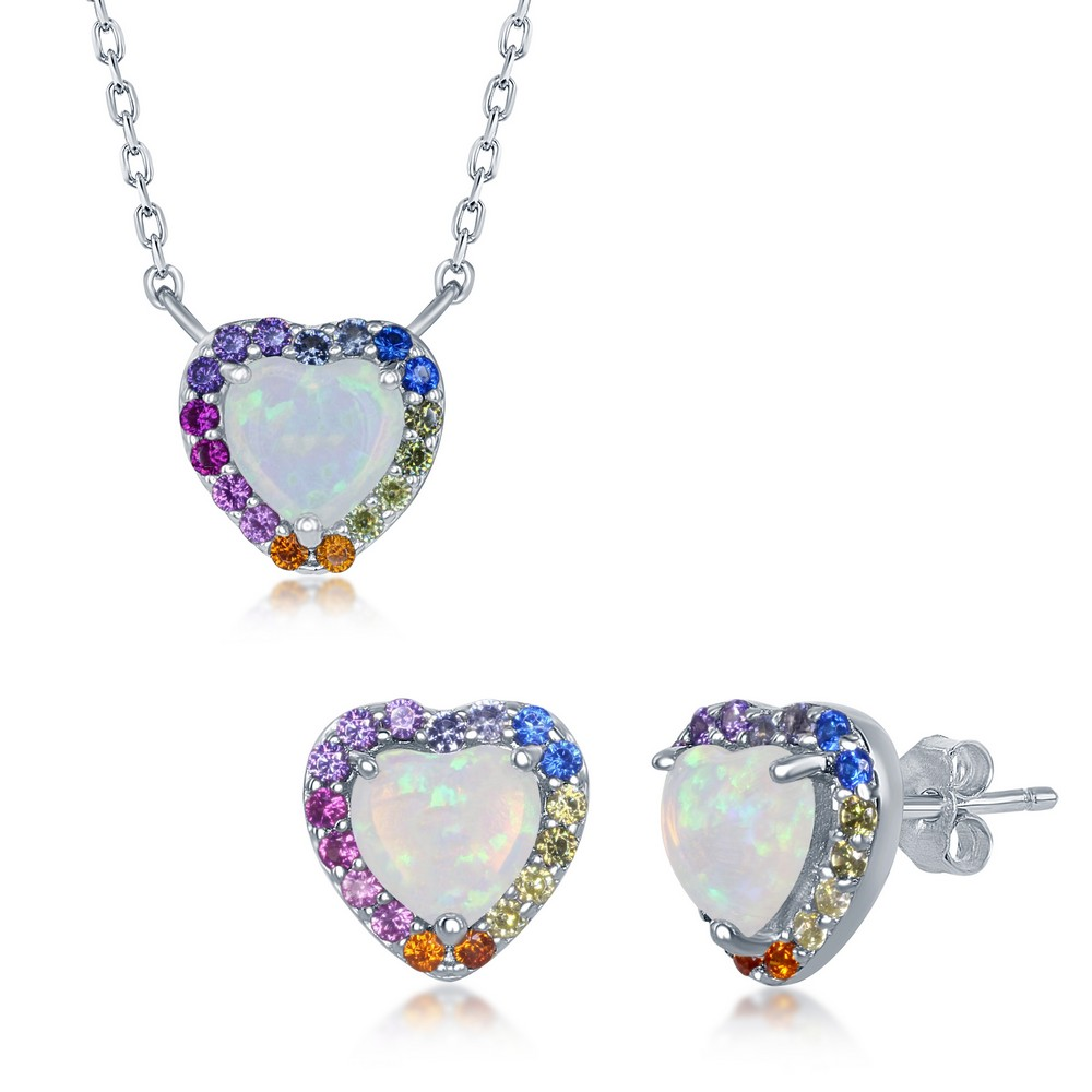 Sterling Silver White Opal Heart Rainbow CZ Necklace and Earrings Set
