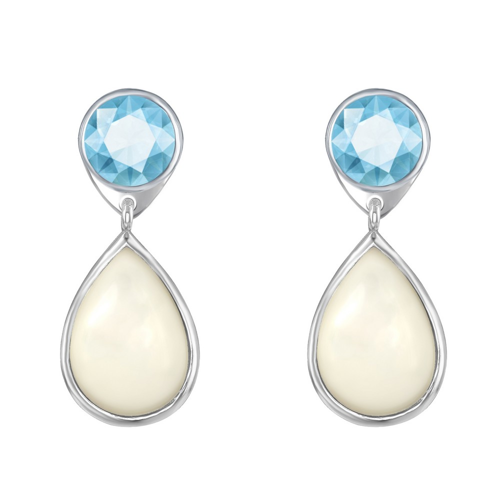 Sterling Silver Blue Topaz and Mother of Pearl Earrings