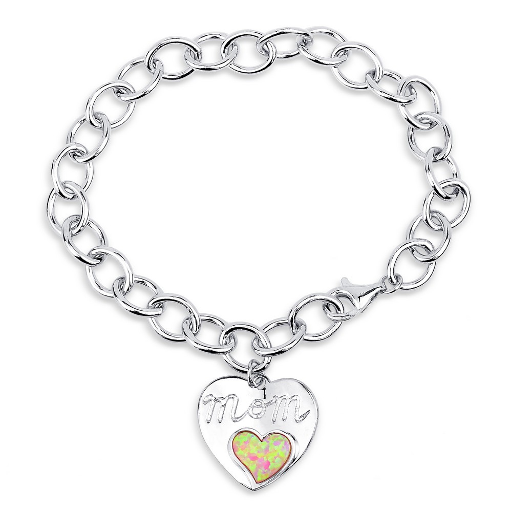 (SPECIAL ORD) Sterling Silver 7.5 Linked Bracelet With  Hanging Shiny & Opal Heart