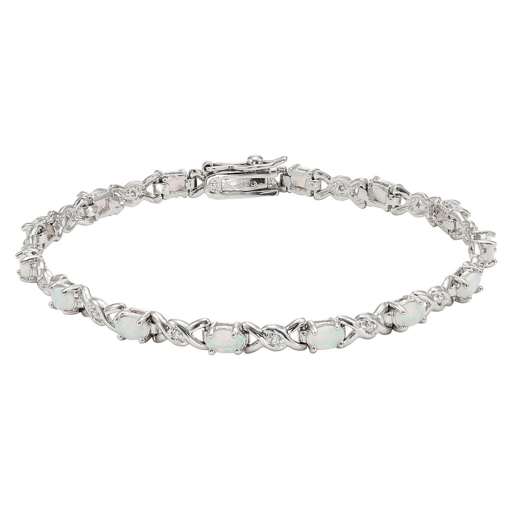 Sterling Silver Double X With CZ & Oval White Opal Bracelet