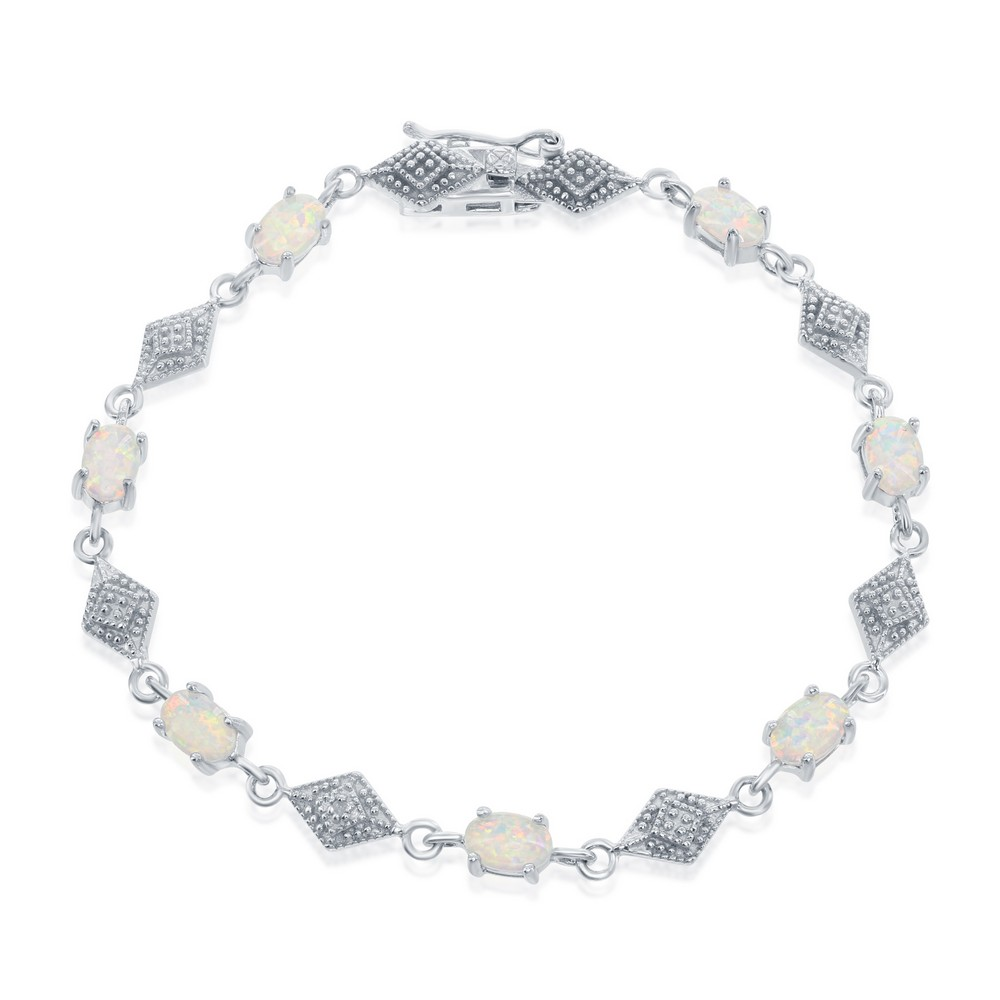 Sterling Silver Oval White Opal With Marquise Shape CZ Bracelet