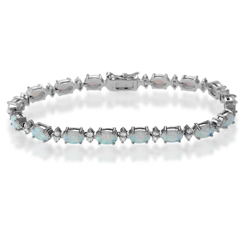 Sterling Silver 7 Oval White Opal & Marquise Shape CZ Bracelet