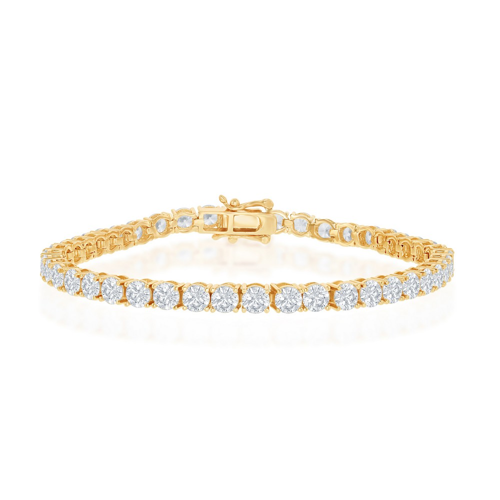 Sterling Silver 4mm Prong-Set Round CZ Tennis Bracelet - Gold Plated