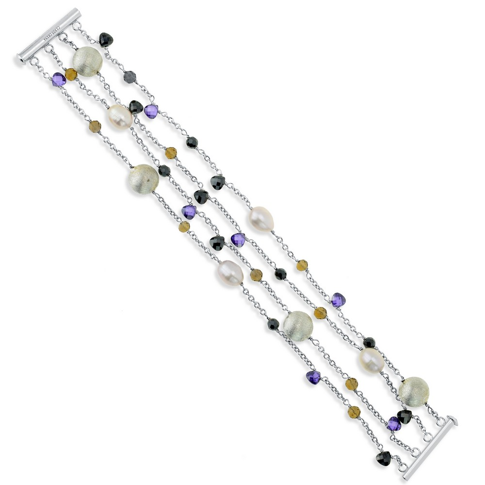 Sterling Silver 7.25 4-Strand FWP With  Amethyst, Olive and Black Beads Bracelet