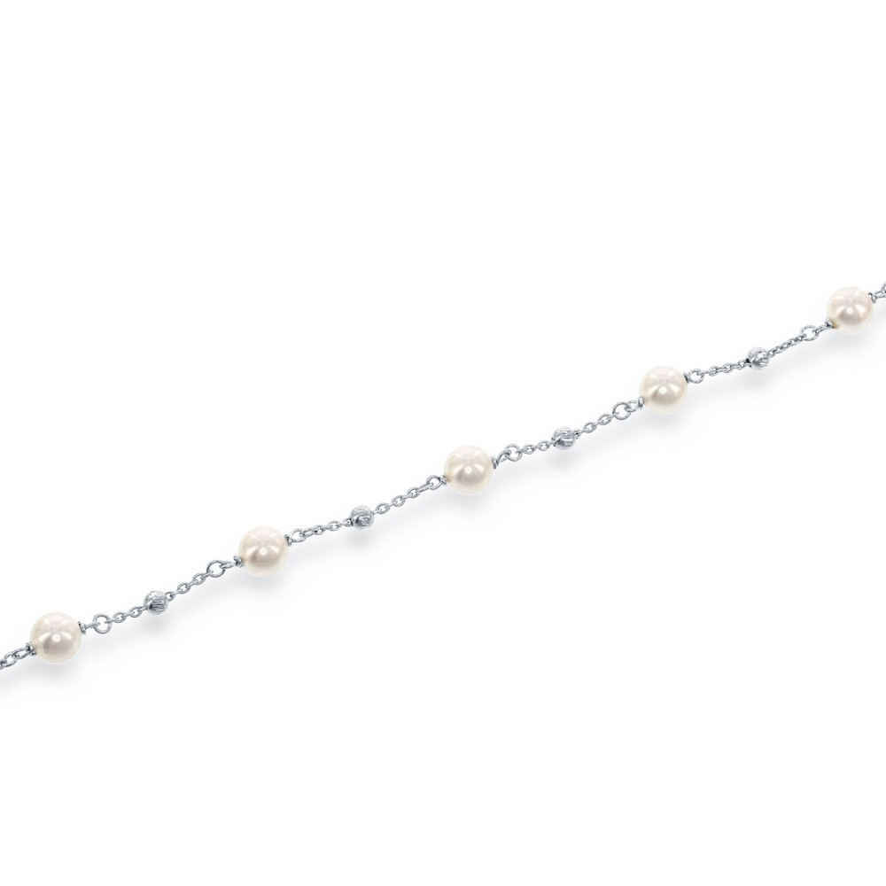 Sterling Silver 6mm Pearls with Moon Beads Bracelet