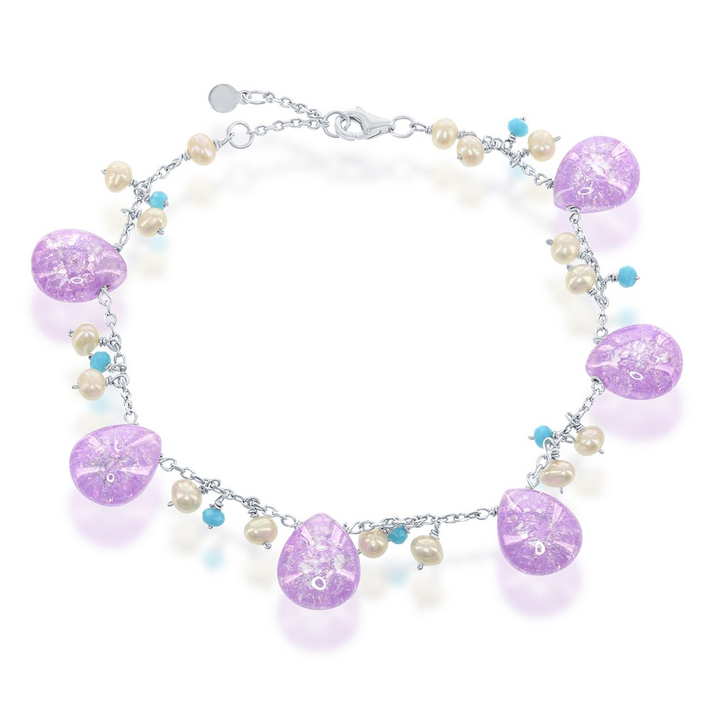 Silver Teardrop Purple Ice with Small Cultured Pearls and Turquoise Beads Bracelet