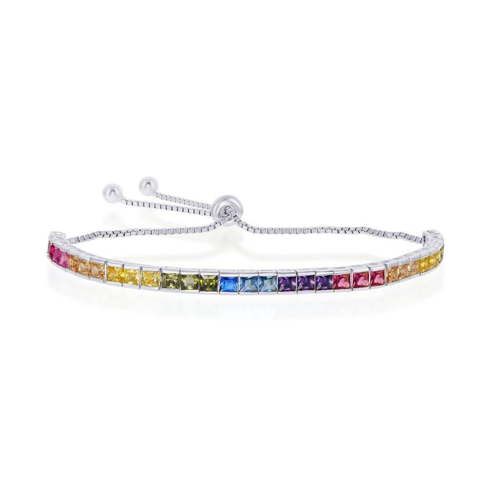 Sterling Silver Rainbow CZ Channel-Setting 4mm Adjustable Bolo Bracelet