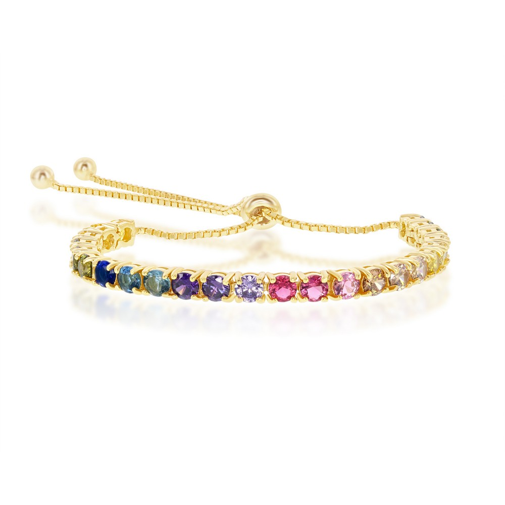 Sterling Silver Rainbow CZ 4mm Adjustable Bolo Bracelet - Gold Plated