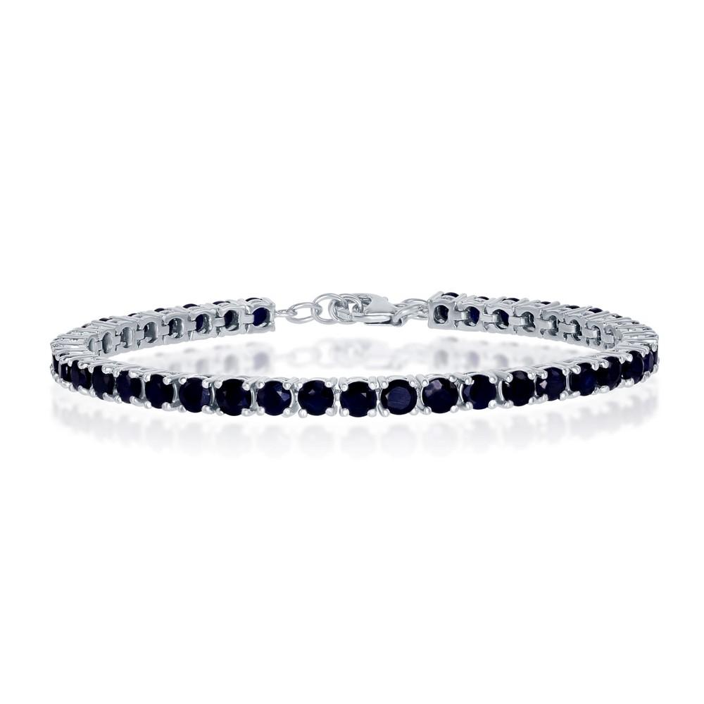 Sterling Silver 4mm Round 13.07cttw Sapphire Gemstone Tennis Bracelet