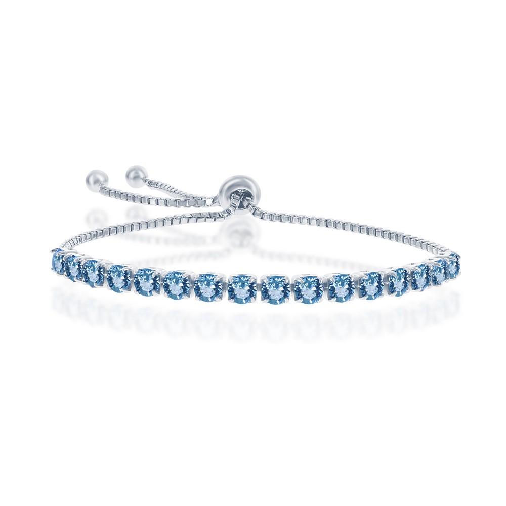 Sterling Silver 4MM Aquamarine March Swarovski Element Adjusatble Bolo Bracelet