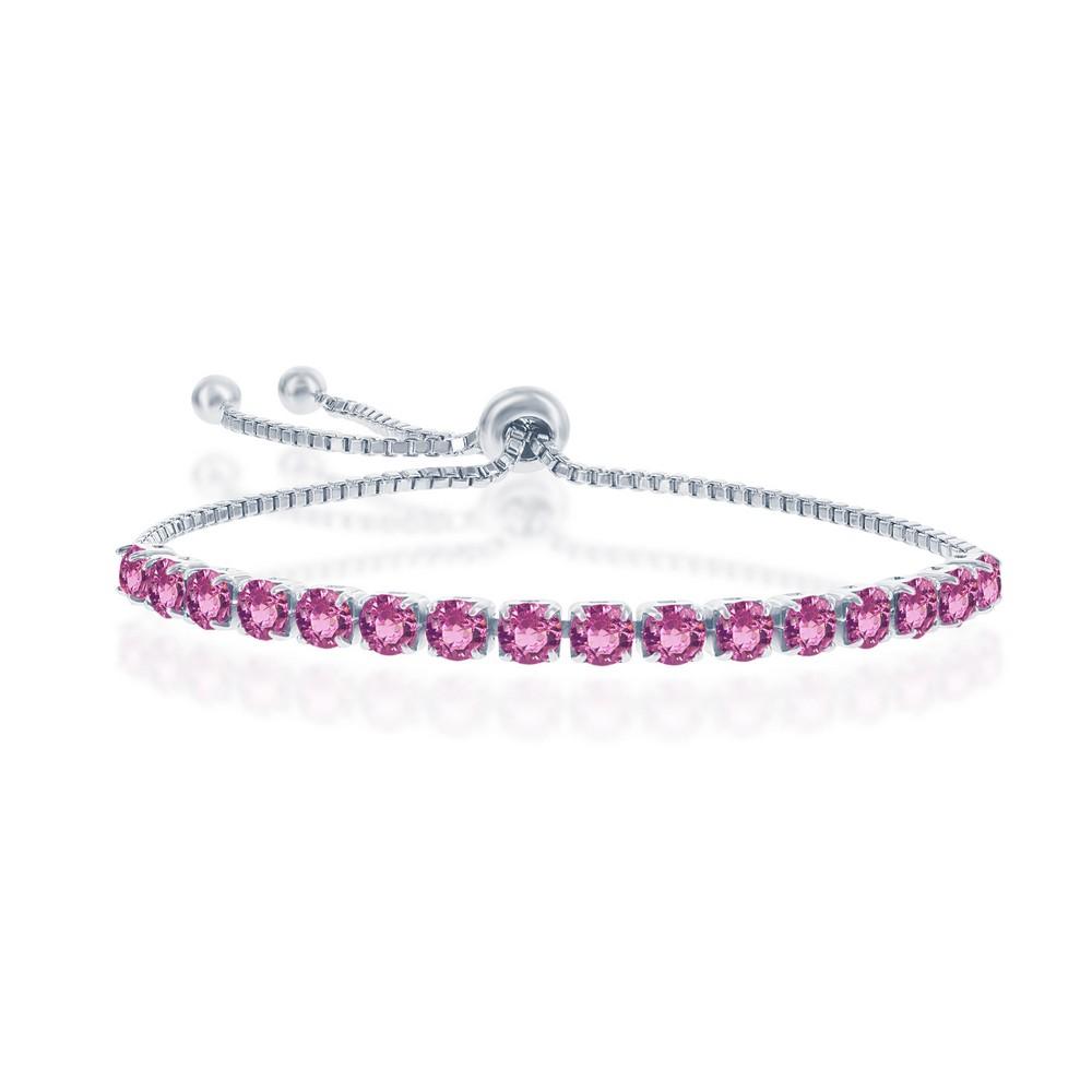 Sterling Silver 4MM Rose October Swarovski Element Adjustable Bolo Bracelet