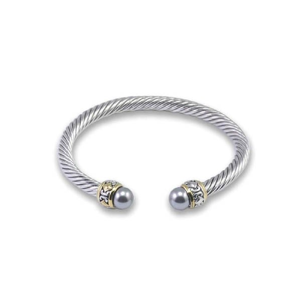 Sterling Silver Antique Style With  Gray Pearls & GP Piping CZ Bangle