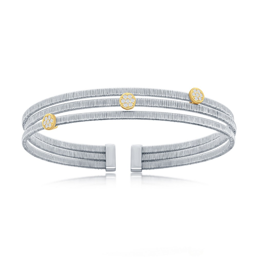 Sterling Silver Round CZ Triple Wire Bangle, Bonded with 14K Gold Plating