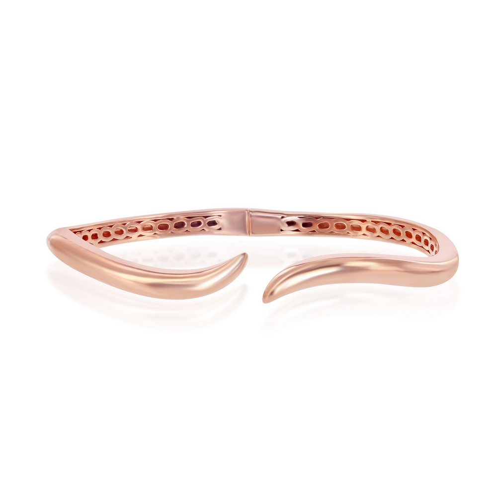Sterling Silver Rose Gold Plated Waved Bangle